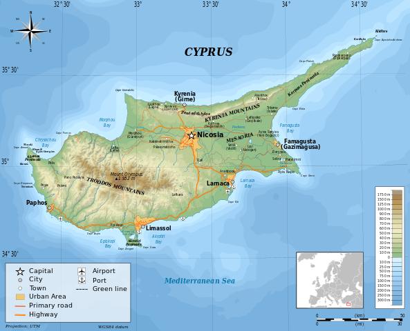 Cypern topografiskskarta