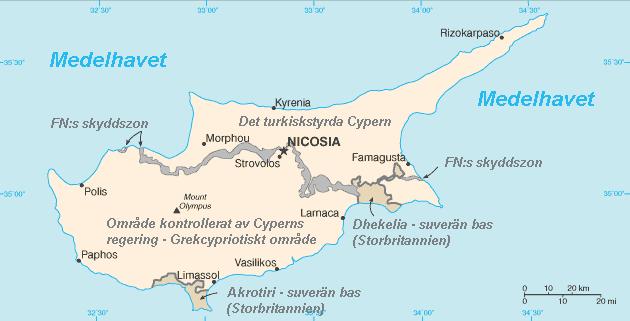Cypern karta delning norr och söder